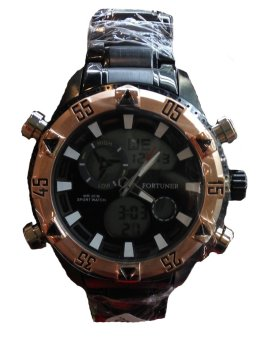 Fortuner - Jam Tangan Pria - Stainlesstell - FR AD2050A - Black Gold