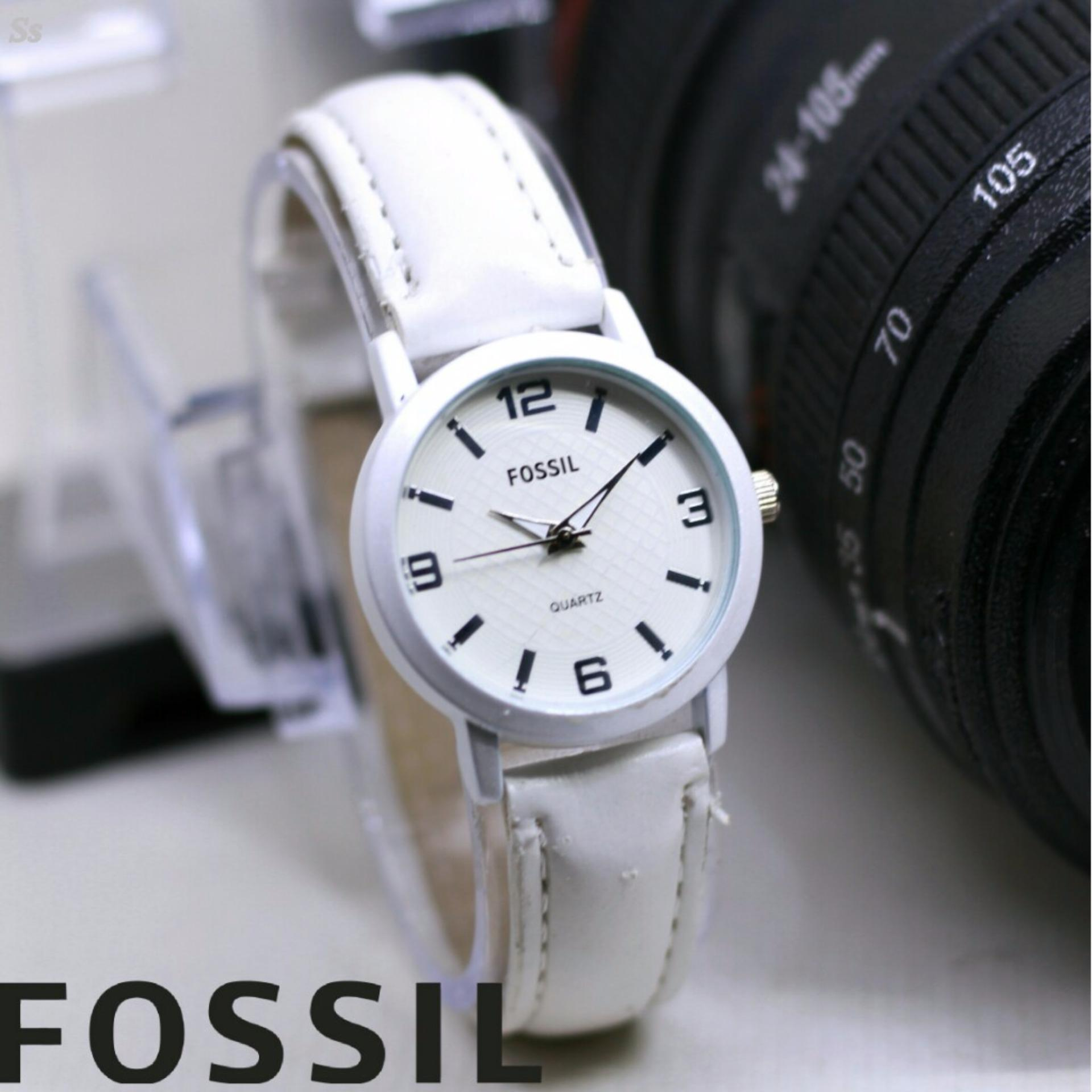Fosil Jam Tangan Wanita Model Trendy Casual Leather Strap Daftar Fossil Cecile Multifunction Sand Watch Am 4532