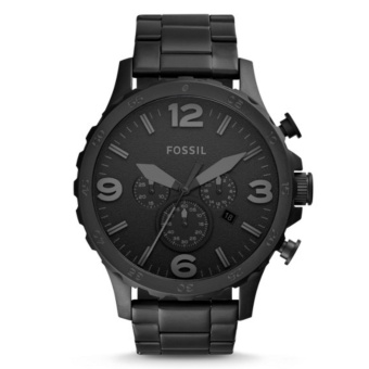 ... Fossil Jam Tangan Pria Fossil JR1401 Nate Chronograph Black Stainless Steel Watch