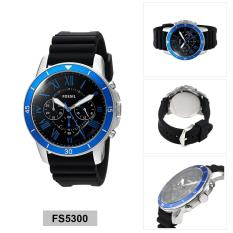 Fossil Watch Grant Chronograph Black Stainless-Steel Case Silicone Strap Mens NWT + Warranty FS5300