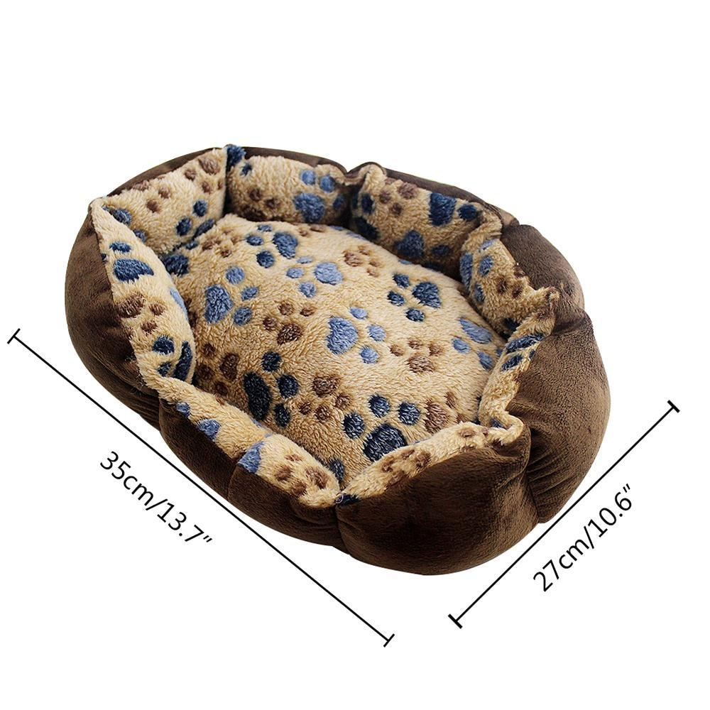 fuskm Pet Bed Dog Paw Prints- Suitable For Puppies And Kittens,Machine Washable, Ultra Soft Pet Sofa - Dark Coffee 13.7x10.6inchRound - intl