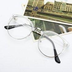 Gaya Retro Wanita Pria Nerd Kacamata Bening Lensa Kacamata Bingkai Logam Bulat Kacamata-Intl