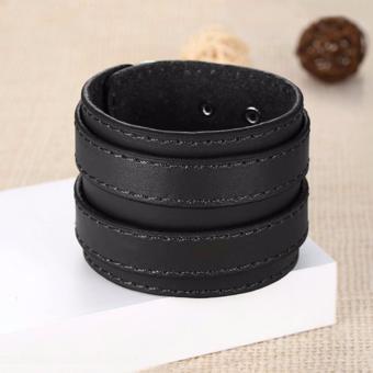 Gelang Pria Gelang Wanita Gelang Wrap - New Fashion Double Belt Leather Wide Bracelet for Men Buckle Vintage - Wrap X2 - Hitam - 5