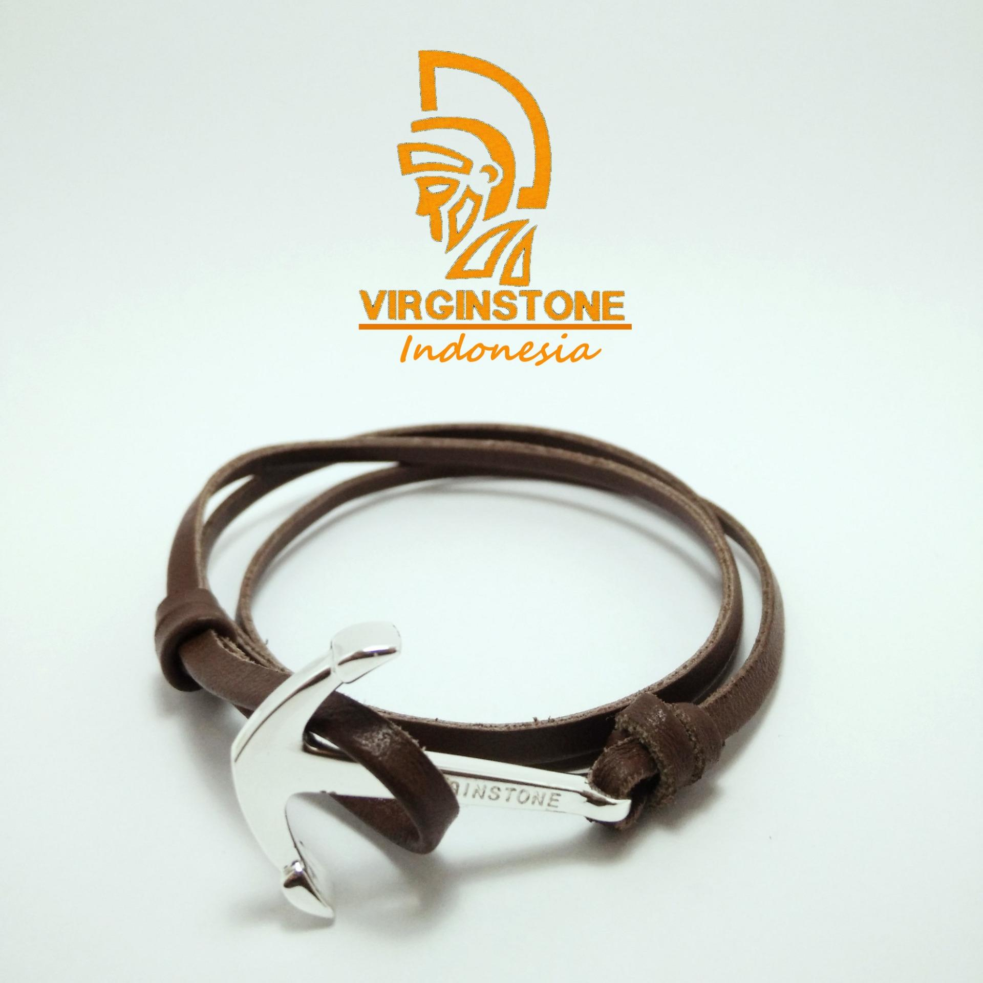 Flash Sale Gelang Virginstone Jangkar Kulit Silver Anchor Brown Leather (Dark Brown Colour)