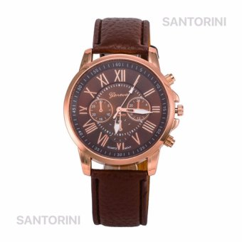 GENEVA Jam Tangan Modis Wanita Analog Fashion Women Analog Quartz Strap Wrist Watch - BROWN