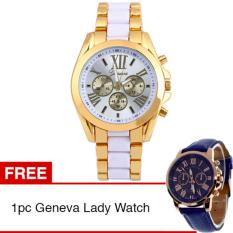 Geneva Jam Tangan Pria Wanita Fashion Casual Quartz Analog Men Lady Watch - White + Gratis 1pc Geneva Lady Analog Watch Blue