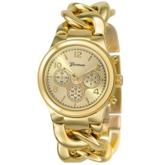 Geneva Jam Tangan Wanita Analog Fashion Casual Wristwatch Stainless Steel Women Watch (Gold)
