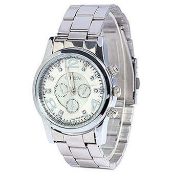 Geneva Jam Tangan Wanita Analog Fashion Women Geneva Rhinestone Stainless Steel Quartz Wrist Watch- SILVER