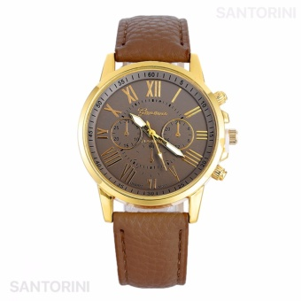 GENEVA Jam Tangan Wanita Analog Strap Kulit Sintetis Women Leather Watch - KHAKI