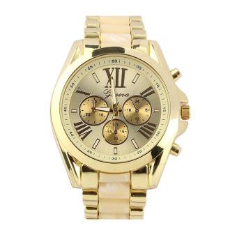 Geneva - Jam Tangan Wanita dan Pria - Putih Emas - Strap Stainless Steel - GEN-STS-B-Cream