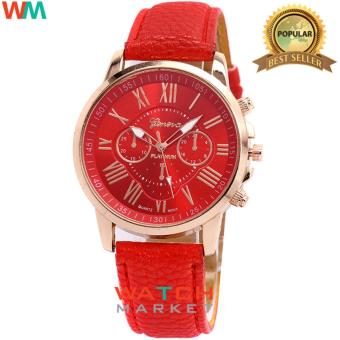 Geneva - Jam Tangan Wanita Strap Kulit Sintetis Woman Leather 001 - Red