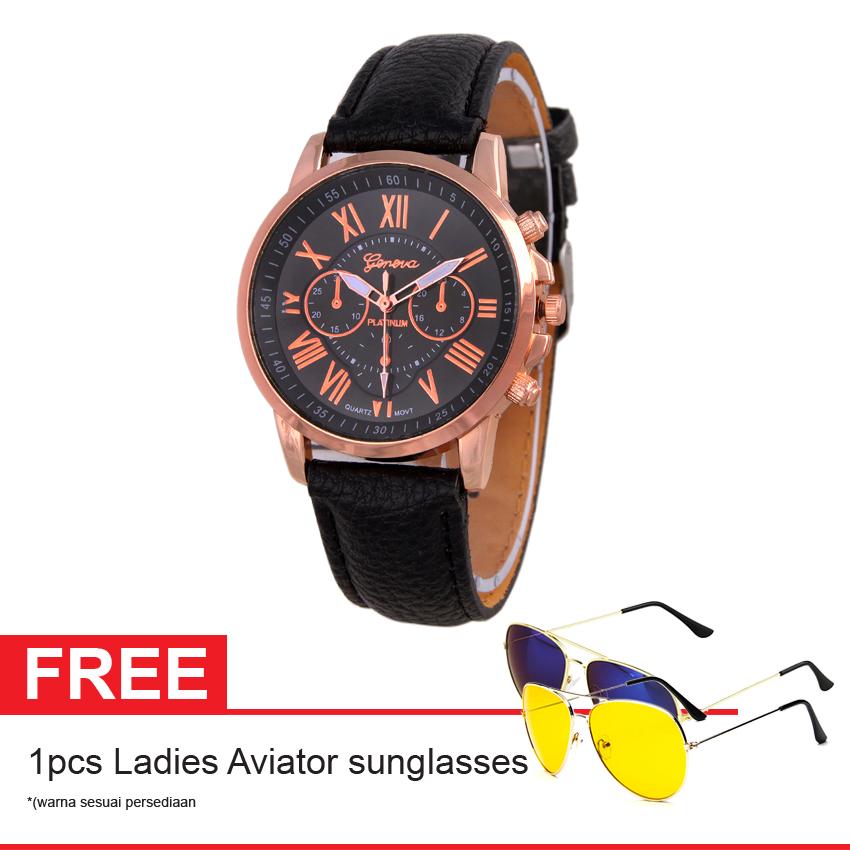 Flash Sale Geneva Leather Cecile Jam Tangan Wanita - Kulit - Hitam - Geneva GNV LC 0990 BLK + Gratis Ladies Aviator Sunglasses