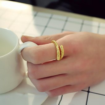 Gold Plated King Gold Hoop Bar Weapon Christmas Gifts Men Ring -intl