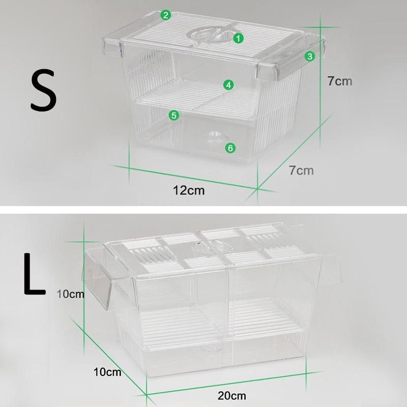 Gracefulvara Aquarium Fish Tank Guppy Double Breeding Breeder Rearing Trap Box Hatchery 12x7x7cm - intl
