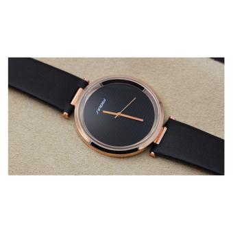 Great SINOBI 9393 New Fashion Minimalist Women's Rose Wrist Watches Leather Watchband Luxury Brand Simple Ladies Geneva Quartz Clock 2017 - Black Gold - 3