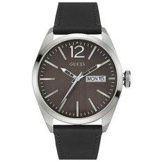 Guess - Jam Tangan Pria - Silver-Hitam - Strap Hitam - W0658G2