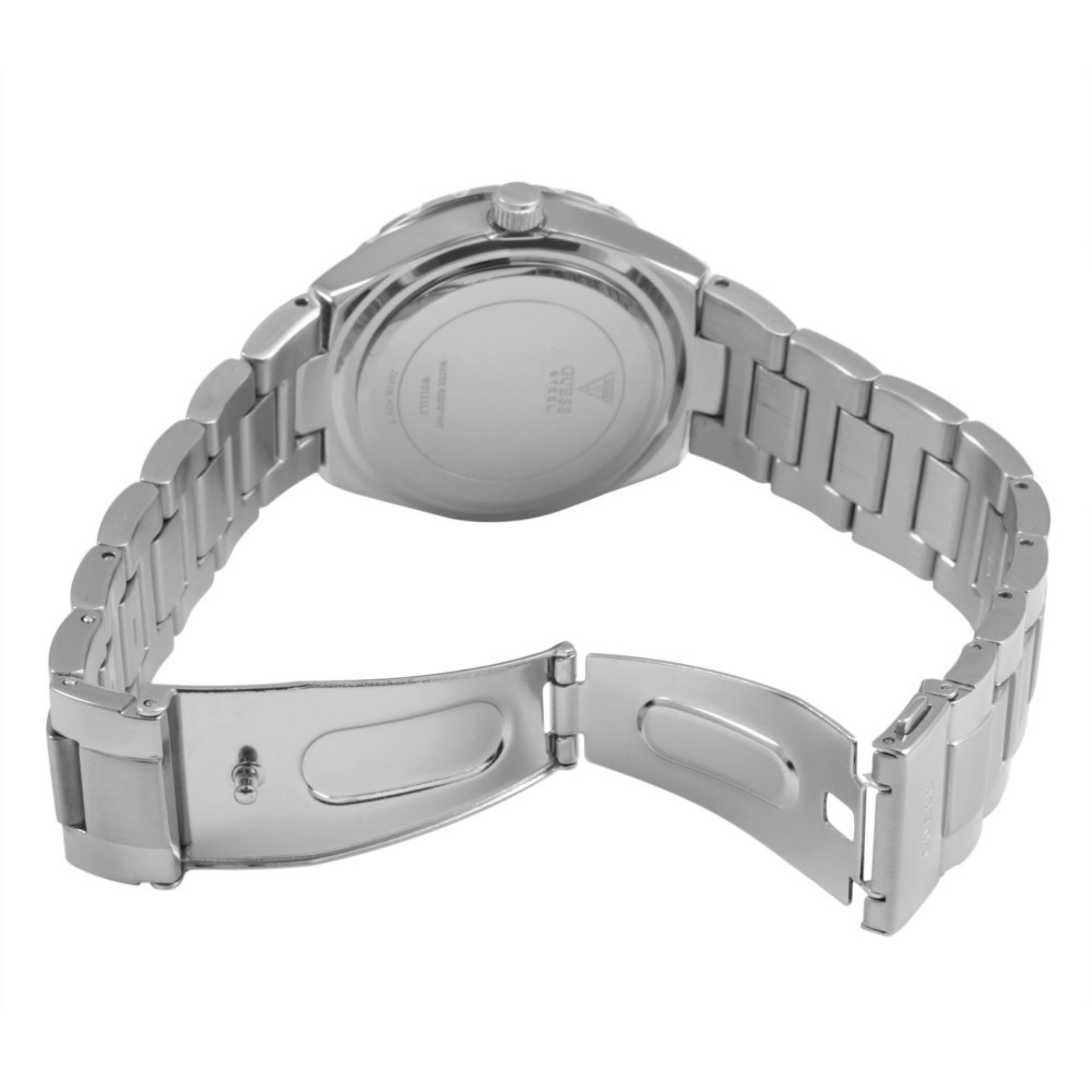 Guess Jam Tangan Wanita Guess W0111L1 Viva Multifunction Silver Stainless Steel Watch .