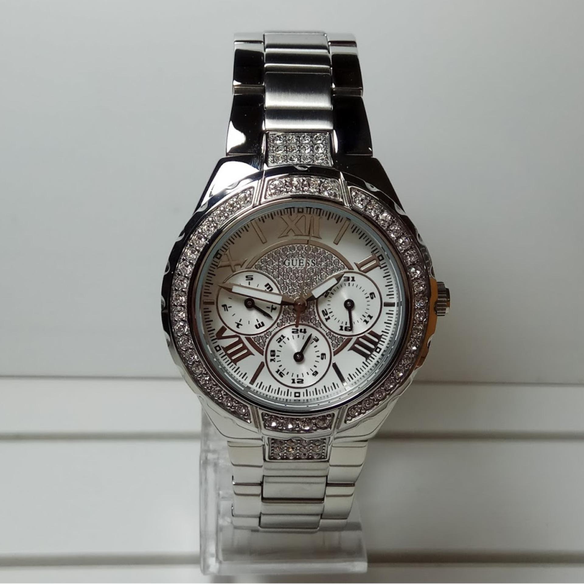 Anggaran Terbaik Guess Jam Tangan Wanita W0111l1 Viva W0479g3 Multifunction Pria Strap Stainless Steel Silver Watch