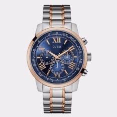 GUESS W0379G7 - Chronograph - Jam Tangan Pria - Bahan Tali Stainless Steel - Silver - Rose Gold Line