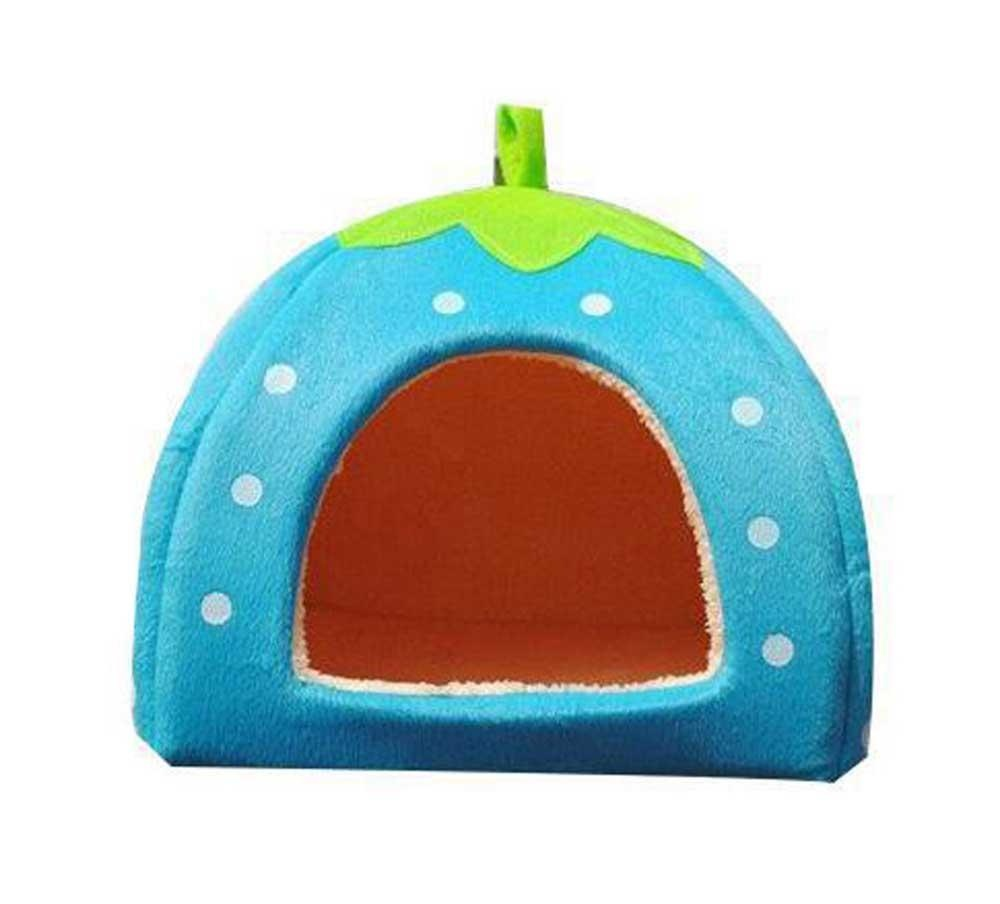 hazobau Unique Cute Strawberry Shape Pet House Cat Dog Puppy Bed(Blue, M) - intl