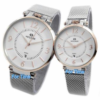 Hegner - H5015C - Jam Tangan Couple - Stainless Steel - Silver Rose