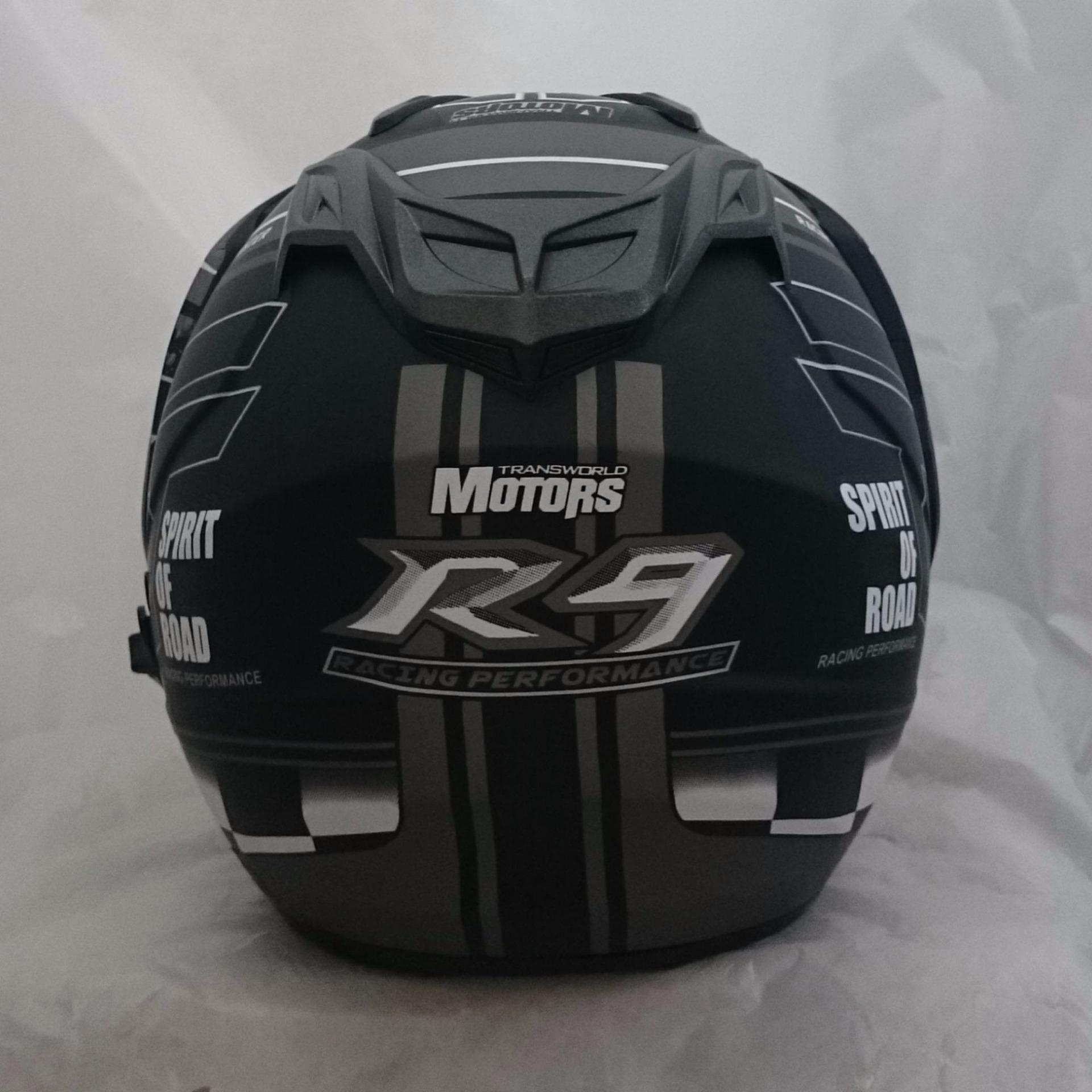 Flash Sale Helm 2 Kaca Dmn R 9 Black Doff Abu Harga Baru Double Visor  Sport Orange