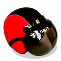 Helm Bogo Retro Full Synthetic Leather dewasa / Remaja + Kaca Bogo Original - Merah/Hitam