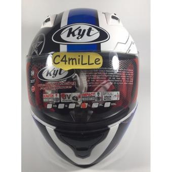Harga Helm Full Face KYT RC 7 RC7 #11 white black blue Terbaru klik gambar