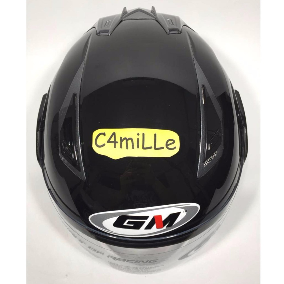 HELM GM INTERCEPTOR SOLID BLACK DOUBLE VISOR HALF FACE .