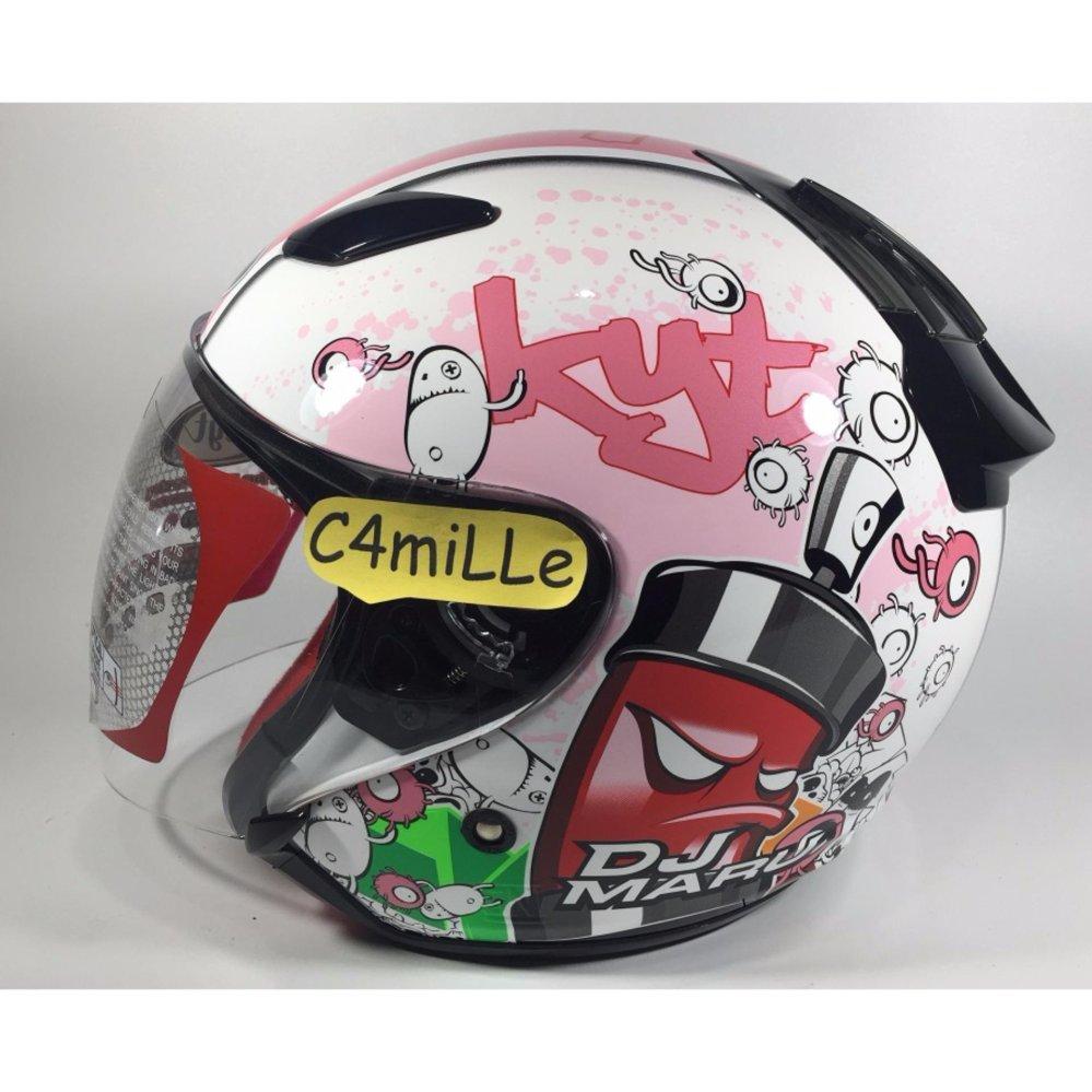 Snail Helm Half Face Retro 622 Double Visor Mika Panjang Hitam 310 White With Revo Green Kyt Dj Maru Motif 5 Pink
