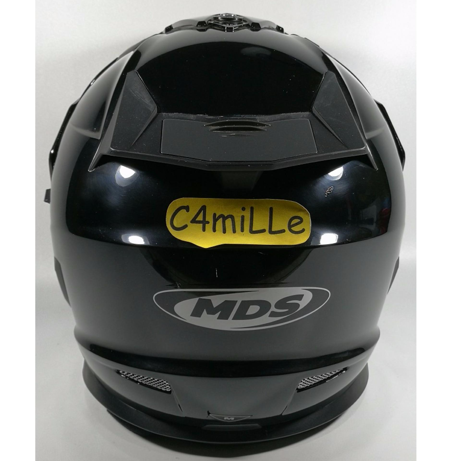 HELM MDS SUPER PRO SOLID BLACK DOUBLE VISOR CROSS TRAIL .