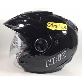 HELM NHK AVIATOR SOLID BLACK DOUBLE VISOR HALF FACE .