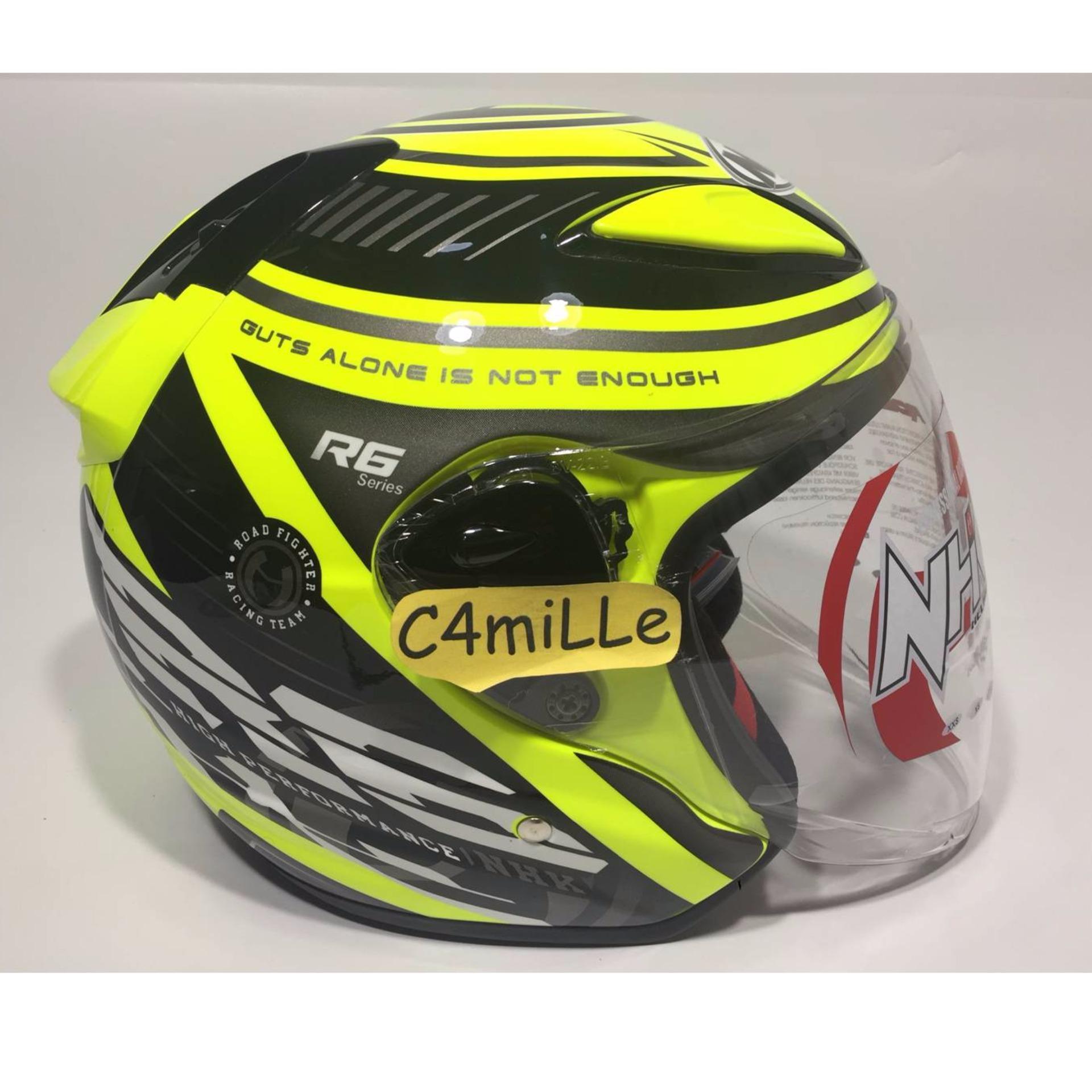 Perbandingan Harga Helm Nhk R6 Racer X Yellow Fluo Silver Half Face Full Gp1000 Xvision