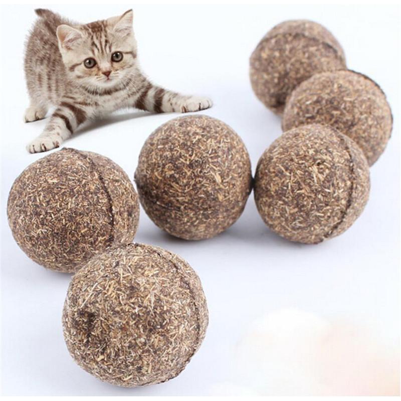 HengSong 2 buah Pet mainan gigitan kucing sehat alami bola Kitty menyenangkan memperlakukan untuk Kucing