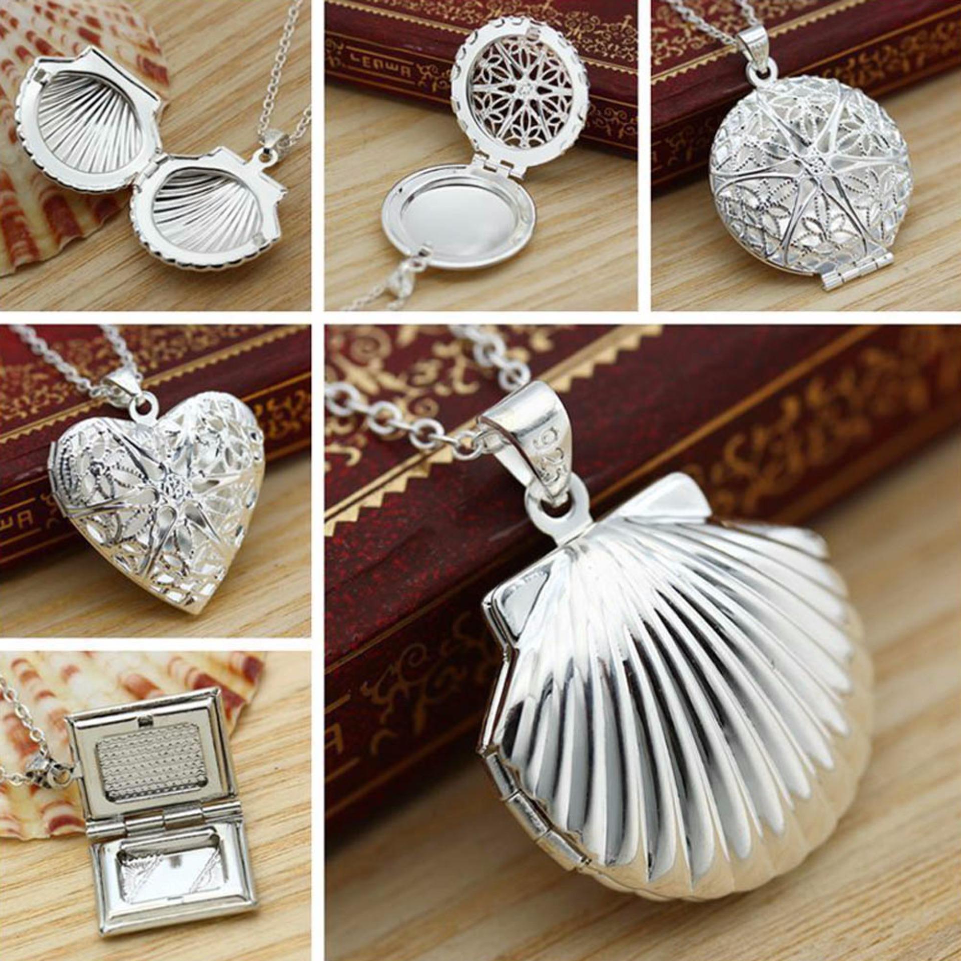 Hequ P167 fashion perhiasan kalung rantai 925 perak kalung liontin perak bersih menghabiskan bingkai foto akla
