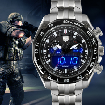 Heren Horloge TVG Watches Men Full Steel Dual Display Quartz Watch 100M Waterproof Dive Sports Ritium Submarine Wristwatches - Intl