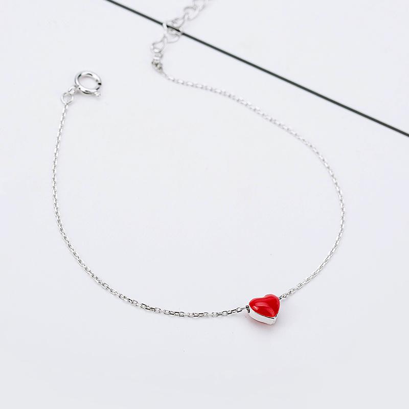 Hong jantung segar Hong perempuan perak gelang perak gelang