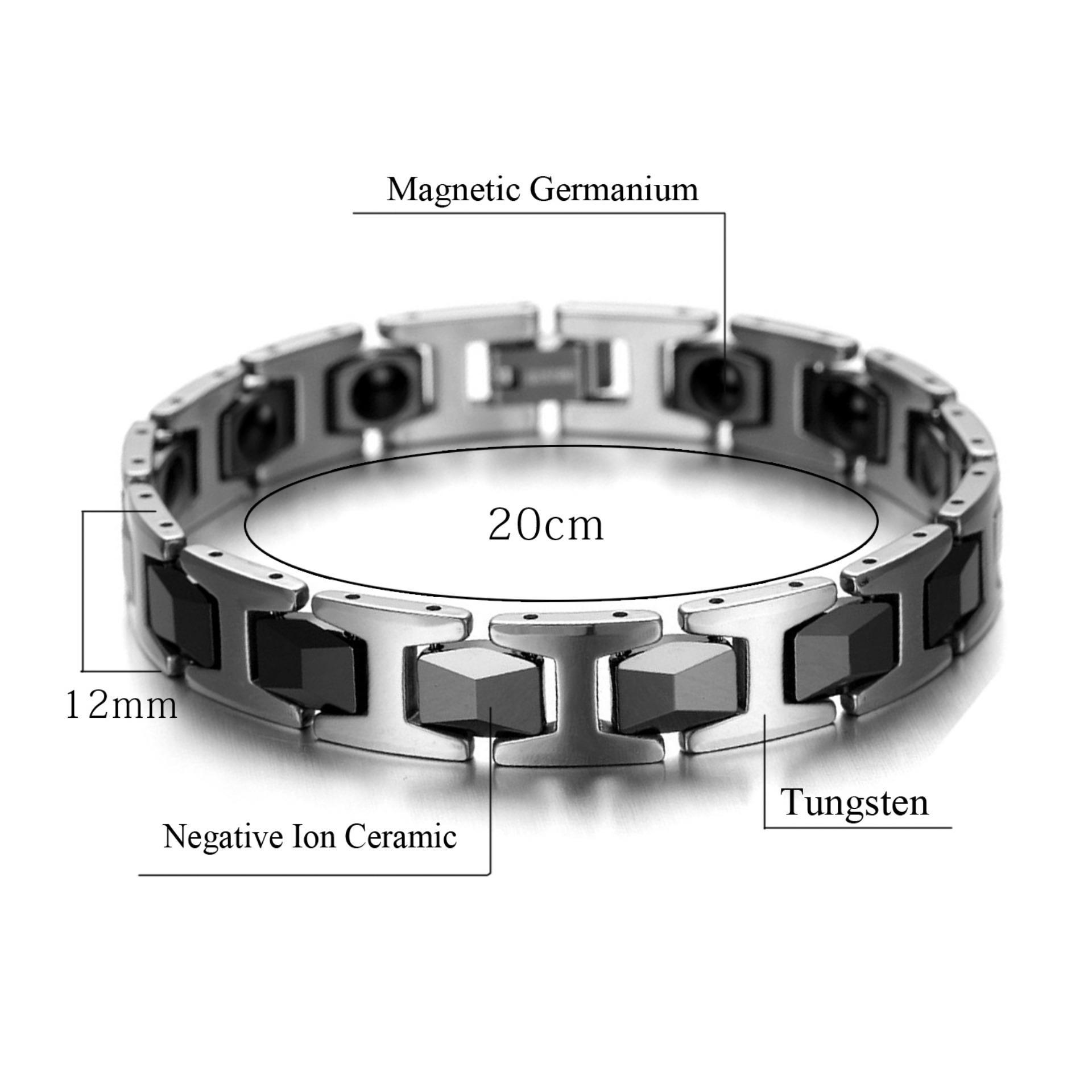 Hottime Men's Fashion Sehat Bangles Bio Elemen Energi Germanium Bracelet Hitam Negatif ION .