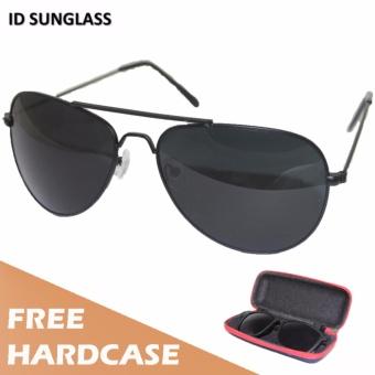 ID Sunglass - Kacamata Aviator Pria Wanita - Frame Hitam - Lensa Hitam SUN 1002-01