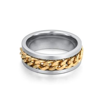 Vanker Luxury Wedding Band Ring Titanium Steel Curb Chain Spin For men Black .