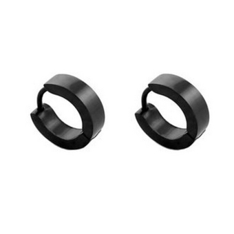 Harga BolehDeals 1 Pair Mens Women Stainless Steel Hoop Huggies Ear Stud Earrings Black