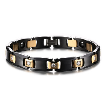 Harga Titanium Steel Black Ceramic Stone Western Style Bracelet for Men Great for Gifts