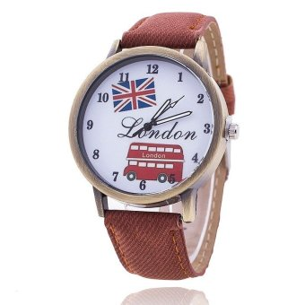 Harga Fashion Union Flag London Bus Watch Women Casual Luxury Jeans Wristwatch (Brown)