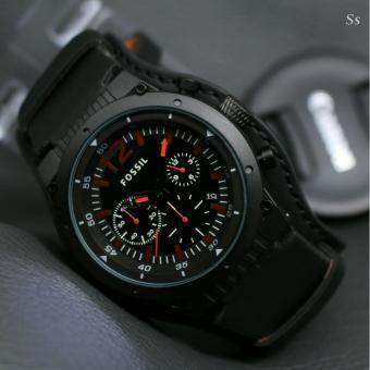 Jam tangan Pria Design Exclusif List Merah Leather Strap Fossil 1109
