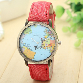 Harga New Global Travel By Plane Map Women Dress Watch Denim Fabric Band Red
