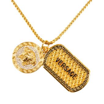 ... Kalung rantai panjang bergaya hip hop dengan liontin berbentuk Medusa yang berbahan berlian imitasi