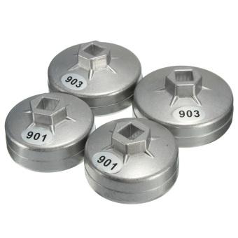 Aluminium 74 mm cap kunci Filter Oli Mobil Reparasi Alat Penghilang soket 14 seruling - 2
