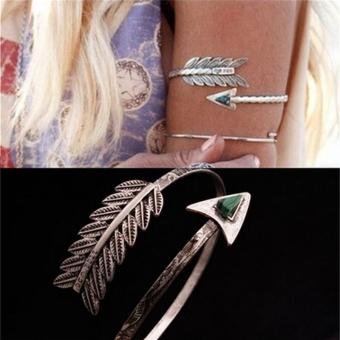 Bohemian Ethnic Upper Arm Bracelet Vintage Arrow Open Bangle Armlet Arm Cuff - intl