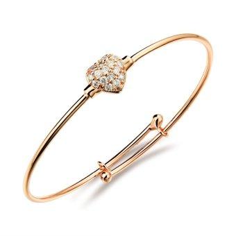 Children Bracelets for Girls Rose Gold Plated Bangle Adjustable Open Bangles for Children Heart Bracelet Jewelry ...