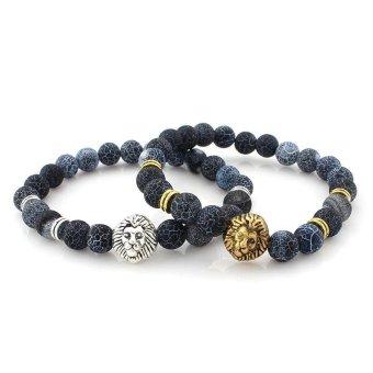 1 Pair Leopard Head Buddha Beads Bracelet Bangle for Lovers Couple Gift - intl